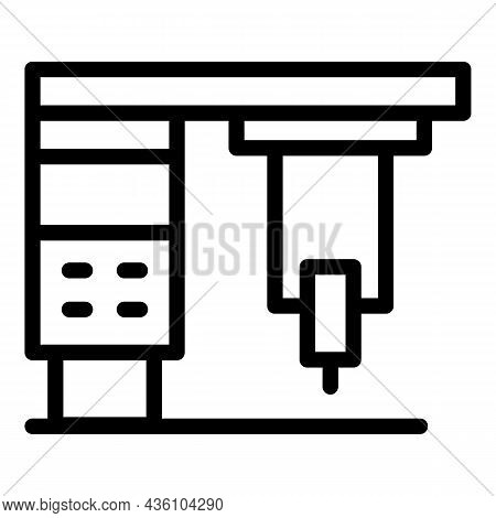 Hard Cnc Machine Icon Outline Vector. Work Tool. Lathe Factory