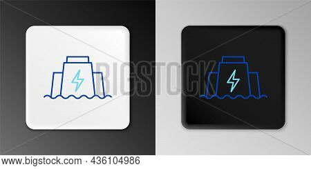 Line Hydroelectric Dam Icon Isolated On Grey Background. Water Energy Plant. Hydropower. Hydroelectr