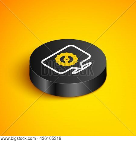 Isometric Line Circular Saw Blade Icon Isolated On Yellow Background. Saw Wheel. Black Circle Button