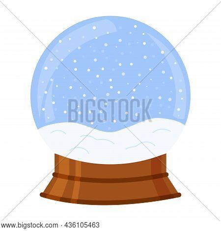 Snowball Isolated. Crystal Snow Ball Empty. Vector Illustration.