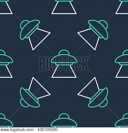 Line Ufo Flying Spaceship Icon Isolated Seamless Pattern On Black Background. Flying Saucer. Alien S