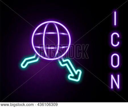 Glowing Neon Line Global Economic Crisis Icon Isolated On Black Background. World Finance Crisis. Co