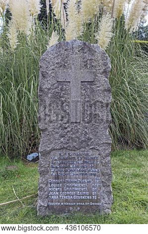 Weston-super-mare, Uk - October 13, 2021: A Memorial To Belgian Refugees Who Died In Weston-super-ma