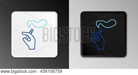 Line Hand With Smoking Cigarette Icon Isolated On Grey Background. Tobacco Sign. Colorful Outline Co