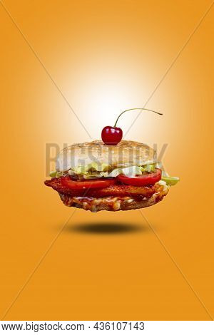 Juicy Chicken Grill Flying Burger, Hamburger Or Cheeseburger With One Chicken Patties. Concept Of Am