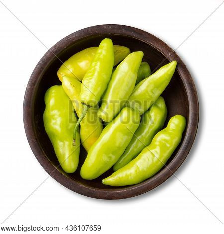 Green Cheiro (scent/smell) Pepper On A Bowl Isolated Over White Background.