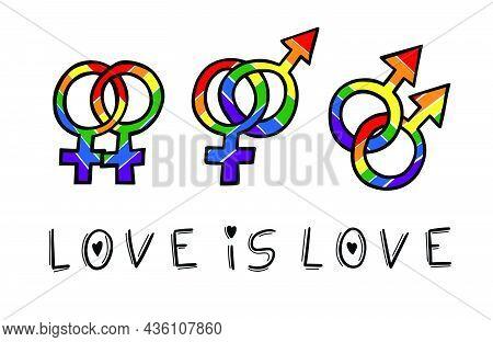 Colorful Love Is Love. Phrase That Symbolizes The Lgbtqia+ Movement
