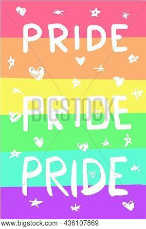 Lgbtqia Colorful Pride Flag Illustration. Fully Editable.