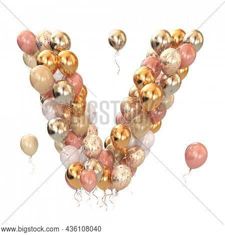 Letter V from balloons isolated on white. Text letter for holiday, birthday, celebration. 3d illustration