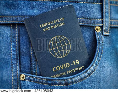 Certificate of vaccination, covid 19 immune passport in pocket of jeans. 3d illustration