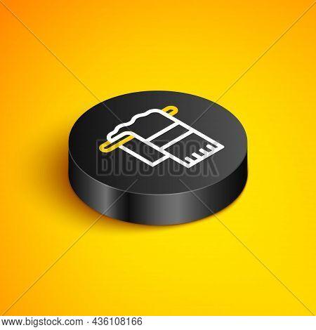 Isometric Line Towel On Hanger Icon Isolated On Yellow Background. Bathroom Towel Icon. Black Circle