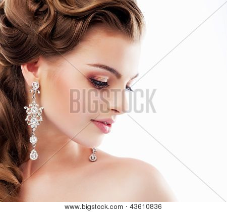 Pure Beauty. Aristocratic Profile Of Smiling Lady With Glossy Diamond Earrings. Femininity & Sophist