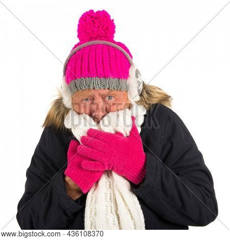 Healthy senior woman in winter time isolated over white background