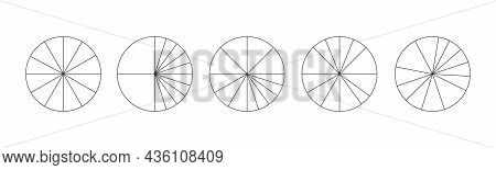 Graphic Circles Divided In 12 Segments Isolated On White Background. Pie Or Pizza Round Shapes Cut I