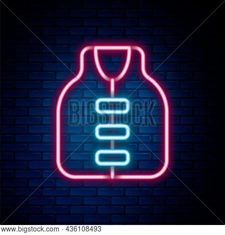 Glowing Neon Line Life Jacket Icon Isolated On Brick Wall Background. Life Vest Icon. Extreme Sport.