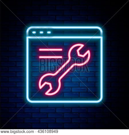 Glowing Neon Line Browser Setting Icon Isolated On Brick Wall Background. Adjusting, Service, Mainte