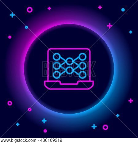 Glowing Neon Line Neural Network Icon Isolated On Black Background. Artificial Intelligence Ai. Colo