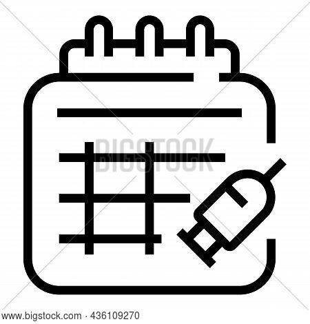 Calendar Syringe Ampule Icon Outline Vector. Vial Vaccine. Bottle Injection