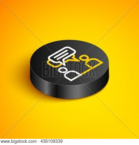 Isometric Line Two Sitting Men Talking Icon Isolated On Yellow Background. Speech Bubble Chat. Messa