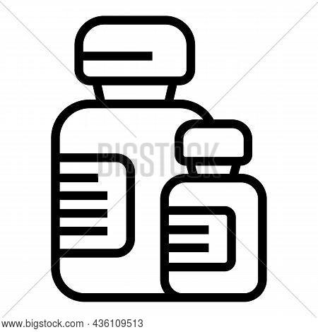 Insulin Syringe Ampule Icon Outline Vector. Vial Vaccine. Bottle Injection