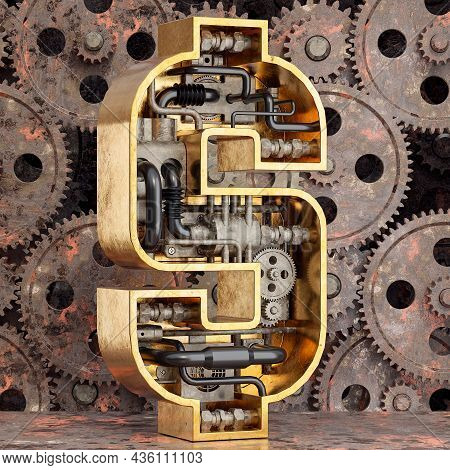 Golden Dollar Sign With Gears. Money, Business, Economy And Monetary System Concept. 3d Rendering