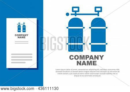 Blue Aqualung Icon Isolated On White Background. Oxygen Tank For Diver. Diving Equipment. Extreme Sp