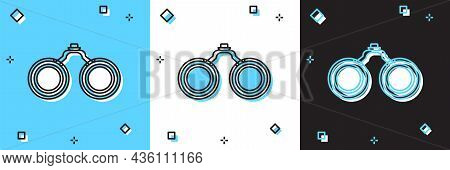 Set Binoculars Icon Isolated On Blue And White, Black Background. Find Software Sign. Spy Equipment