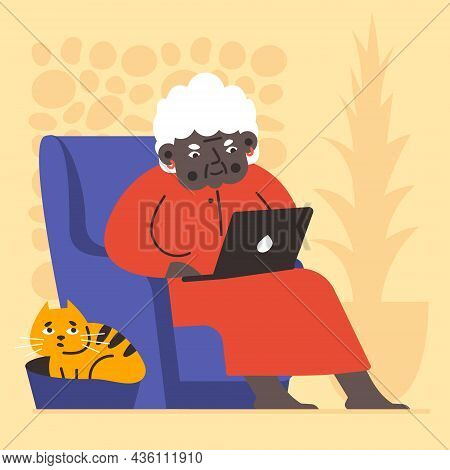 Illustration Of An Advanced Old African American Woman Uses A Laptop. Ginger Cat Near The Legs. For