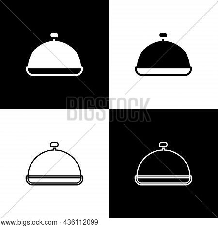 Set Covered With A Tray Of Food Icon Isolated On Black And White Background. Tray And Lid Sign. Rest
