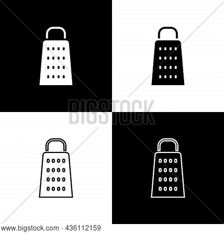 Set Grater Icon Isolated On Black And White Background. Kitchen Symbol. Cooking Utensil. Cutlery Sig