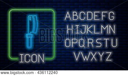 Glowing Neon Meat Chopper Icon Isolated On Brick Wall Background. Kitchen Knife For Meat. Butcher Kn
