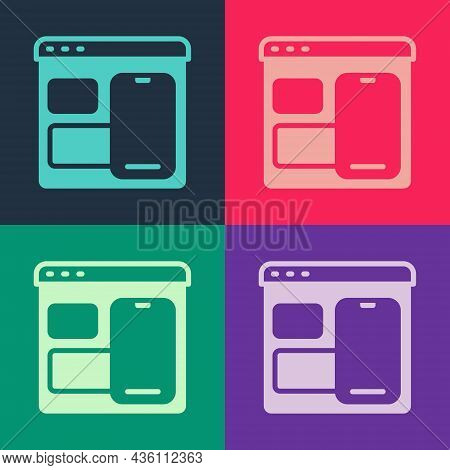 Pop Art Software, Web Developer Programming Code Icon Isolated On Color Background. Javascript Compu