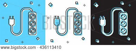 Set Electric Extension Cord Icon Isolated On Blue And White, Black Background. Power Plug Socket. Ve