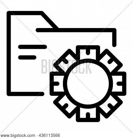 Gear Folder Icon Outline Vector. Cms Web Design. Graphic Code