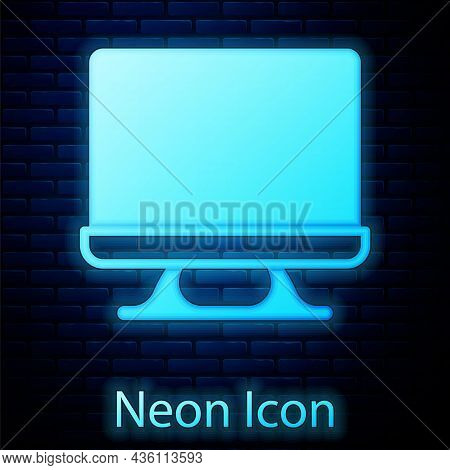 Glowing Neon Smart Tv Icon Isolated On Brick Wall Background. Television Sign. Vector