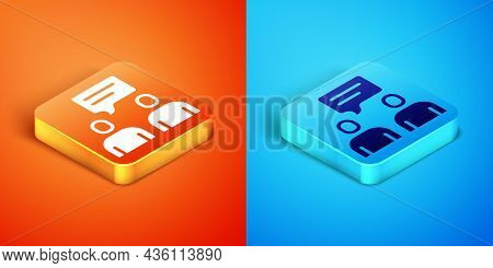 Isometric Two Sitting Men Talking Icon Isolated On Orange And Blue Background. Speech Bubble Chat. M