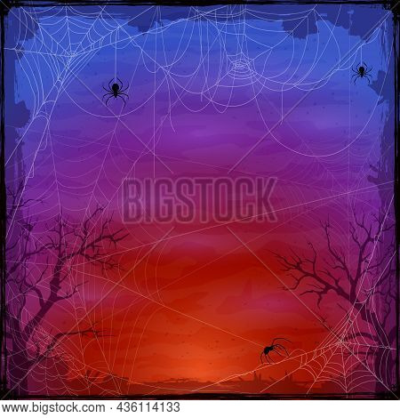 Halloween Purple Background With Spider Webs. Holiday Halloween Card With Grunge Border And Cobwebs.