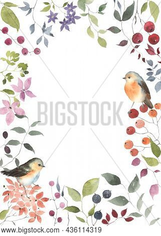 Card with flowers, berries, leaves and cute birds, watercolor colorful illustration isolated on white background, floral frame for your greeting or invitation, banner, poster or cover, wildlife garden