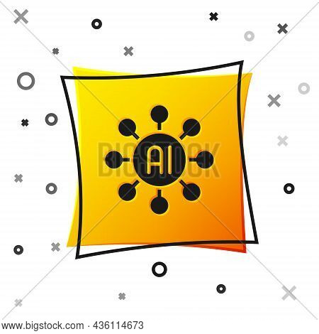 Black Neural Network Icon Isolated On White Background. Artificial Intelligence Ai. Yellow Square Bu
