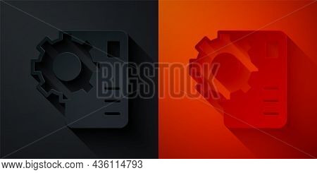 Paper Cut Neural Network Icon Isolated On Black And Red Background. Artificial Intelligence Ai. Pape