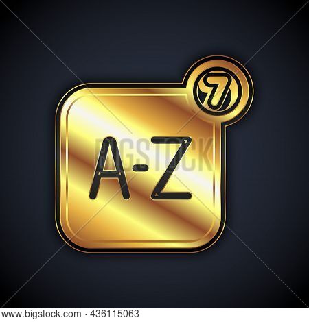 Gold Online Translator Icon Isolated On Black Background. Foreign Language Conversation Icons In Cha