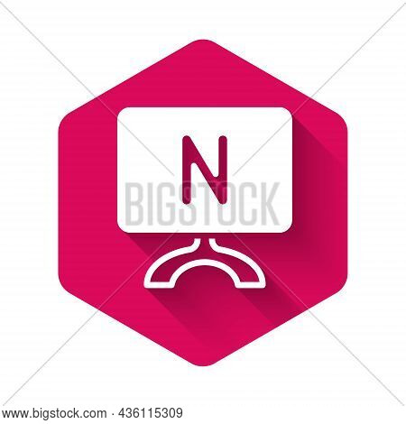 White Smart Tv Icon Isolated With Long Shadow Background. Television Sign. Pink Hexagon Button. Vect