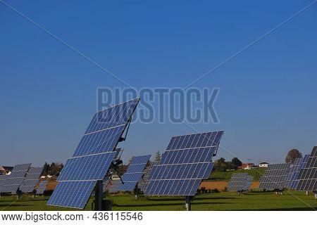 Renewable Energy.solar Power Farm.solar Panels Field. Renewable Energy From Nature.solar Power Techn
