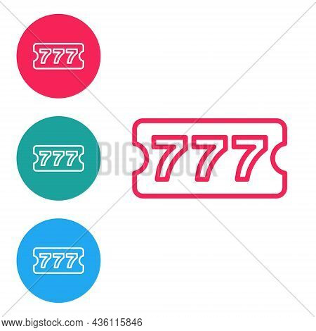 Red Line Lottery Ticket Icon Isolated On White Background. Bingo, Lotto, Cash Prizes. Financial Succ