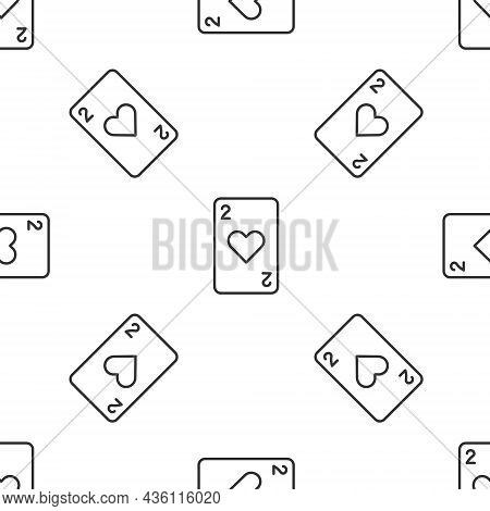 Grey Line Playing Card With Heart Symbol Icon Isolated Seamless Pattern On White Background. Casino