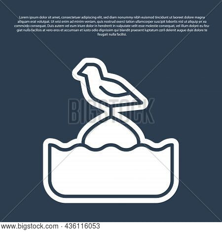 Blue Line Seagull Sits On A Buoy In The Sea Icon Isolated On Blue Background. Vector
