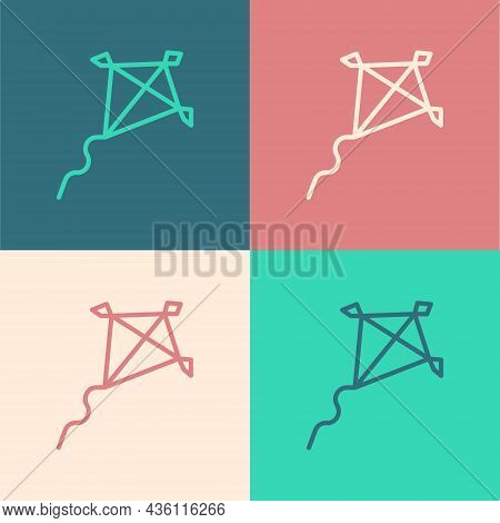 Pop Art Line Kite Icon Isolated On Color Background. Vector