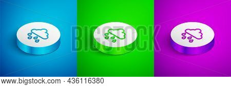 Isometric Line Cloud With Rain Icon Isolated On Blue, Green And Purple Background. Rain Cloud Precip