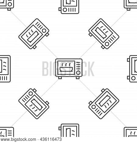 Grey Line Microwave Oven Icon Isolated Seamless Pattern On White Background. Home Appliances Icon. V