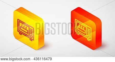 Isometric Line Microwave Oven Icon Isolated On Grey Background. Home Appliances Icon. Yellow And Ora